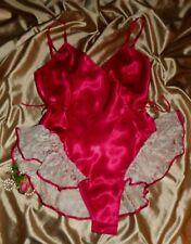 Usa M Victoria's Secret Teddie Glossy Red Satin Ecru Lace Tutu Skirt Hi Cut