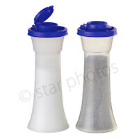 Tupperware Large Hourglass Salt & Pepper Shakers in Tokyo Blue - Brand New!