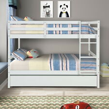 Bunk Beds Full Over Full Bedroom Furniture Wood Frame With Twin Size Trundle