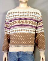 vtg 70s 80s Steep Slopes Men's Geometric Knit Crew Ski Sweater Ugly Christmas L