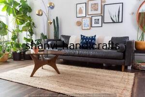 Handmade Jute Rug Home Decor Floor Jute Runner Rug Boho Solid Area Rug 2x4 Feet
