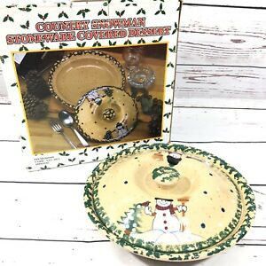 Country Snowman Stoneware Covered Dessert Pie Dish With Lid