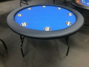 "52"" ROUND PROFESSIONAL POKER TABLE W/ JUMBO CUP + COVER [BLUE FELT]"