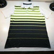 NIKE GOLF STANDARD FIT DRI FIT POLO SHIRT Sz L White w Yellow & Black