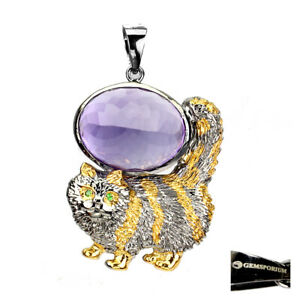 Handmade Natural 31ct Purple Amethyst Garnet 925 Silver Cat Pendant Spicial Item