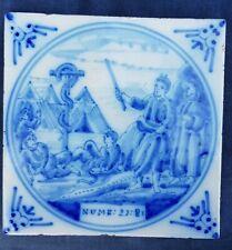 Antique 18thC.Dutch Delft Blue White Bible Biblical Religious Tile Numbers 23:8