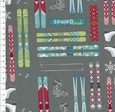 """(€18,00/m)Patchwork - Weihnachten - Winter Games """" Skis Grey """" - 25 x 110cm"""