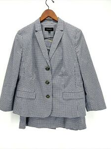 Talbots Blue and White Gingham Blazer and Skirt Suit Set Size 16