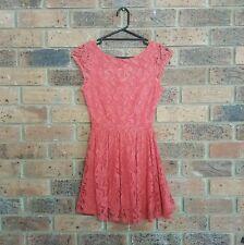 FOREVER 21 size S Blood Orange Floral Pattern Lace Skater Dress Scoop Neckline