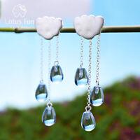 Unique Design Cloud Randdrop Natural Crystal 925 Silver Tassel Drop Earrings