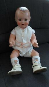 Babypuppe, Sonneberg, ca. 65 cm, blaue Augen