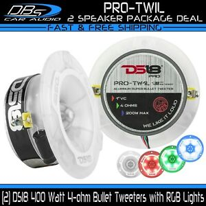 "2 DS18 PRO-TW1L 3.75"" Super Tweeter 1"" VC 400W 4-ohm Speakers with RGB Lights"