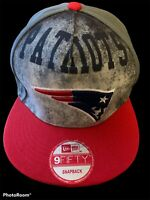 New England Patriots New Era 9FIFTY NFL Adjustable Snapback Hat Cap Grey Red NEW