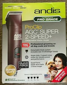 Andis Pro Clip AGC Super 2 Speed+ Detachable Blade Clipper For Dogs. Brand New!