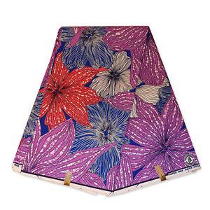 "African fabric PURPLE super wax fabric ""BIG FLOWERS"" Ankara wax print cloth"