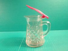 New listing Vintage Pressed Clear Glass Syrup Pitcher with Red Lid