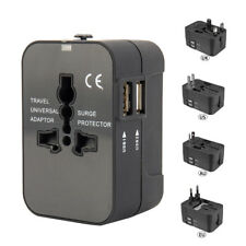 All in one World Travel Universal Adapter With Dual USB Charger AU/UK/US/EU Plug