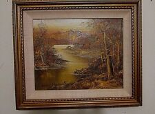 VINTAGE FRAMED OIL on CANVAS by ADAM CHAPPELL - River Landscape in Warm Colors