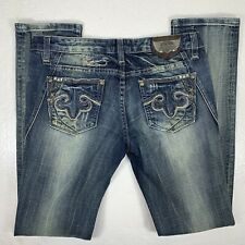 REROCK for Express Jeans Womens Skinny Blue Size 8 Distressed Embellished