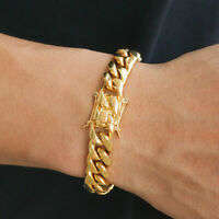 Classic 18K Gold Plated Stainless Steel Miami Cuban Link Chain Bracelet Men 10MM