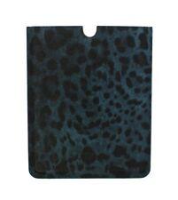 Nuevo $250 Dolce & Gabbana TABLET EBOOK FUNDA cuero patrón de leopardo azul