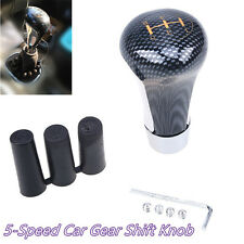 Carbon Fiber Style Manual Car Truck 5-Speed Gear Shift Knob Shifter & 3 Adapters