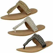 """Ladies Spot On Leather Collection """"Beaded Toe Post Sandals"""""""