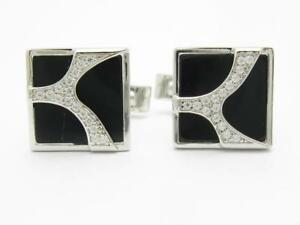 Platinum Sterling Silver White Sapphire & Black Onyx Rectangle Absract Cufflinks