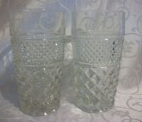 """Lot of 2 Heavy Pressed Glass Waffer Glasses, 5 1/2""""H"""
