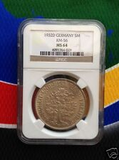 NGC MS 64 1932 D 5 Mark SILVER German Oak Tree Weimar Republic Reichsmark Coin