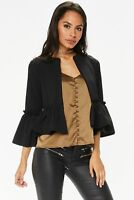 womens Lace Ruffle Frill Bell Sleeve Open Front Peplum Office Coat Blazer Jacket