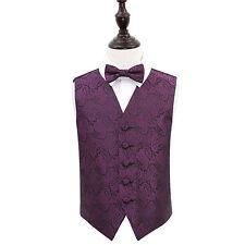 "DQT Premium Woven Jacquard Paisley Boy's Wedding Waistcoat & Bow Tie Set 22""-34"""