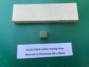 Double Sided Leather and Olivewood Strop Block 200mm x 70mm x 20mm