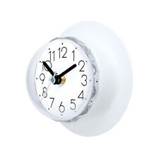 Gluck White Waterproof clock for bathroom Kitchen Shower Suction Wall clock