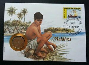 Maldives Islands & Beaches 1987 Sailboat Art Craft Culture Tree FDC (coin cover)