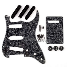 Black Pearloid Strat Guitar 3Ply Pickguard Back Plate Pickup Covers Knobs Tips