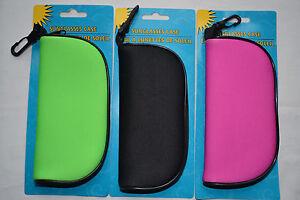 Soft Sunglass Case Zipper & Clip Neoprene Glasses Eyeware Safety Glasses Case