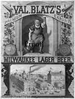 Blatz Beer Vintage Antque Poster Ad Print 1880  Milwaukee Brewery  8x11