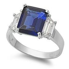 5.0CT SAPPHIRE Engagement 3 STONE RING .925 Sterling Silver Sizes 5-9