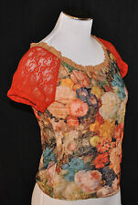 CHIC Ivy Jane Floral Sheer Lace Sleeves Ruffle Trim Cropped Blouse Shirt Top S