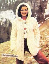 ARAN HOODED JACKET - bulky or 12ply - COPY Ladies knitting pattern