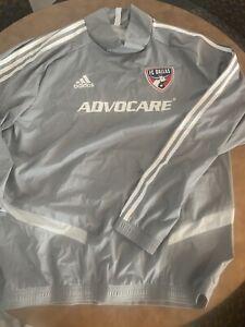 FC Dallas MLS Adidas ClimaStorm light Wind Rain Jacket Gray Size Large.