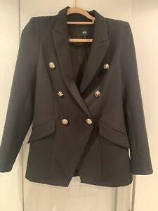 River Island Double Breasted Gold Buttons Military Black Blazer Jacket Size 12