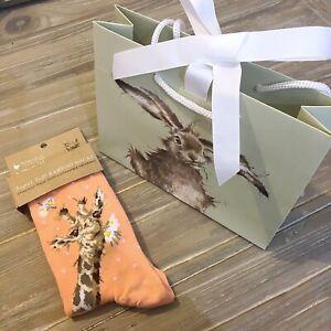 Wrendale Orange Giraffe Bamboo Women's Socks - Free Gift Bag
