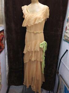 Vintage 1920's Pale Orange Silk Chiffon Flapper Art Deco Dress Size S/M