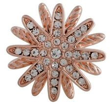 Rose Gold Clear Rhinestone Flower 20mm Snap Charm For Ginger Snaps Jewelry