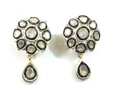 Natural Rose Cut Polki Diamond Earrings 925 Silver Victorian Earrings Jewellery