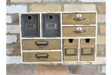 Vintage Industrial Style Wall Cabinet With 8 Drawers Distressed Paint Finish