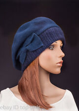M484 Dark Blue Women Cute Bow Warm Cashmere Wool Winter Beret Beanie Hat SKI Cap