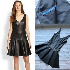 £900 Genuine Ralph Lauren Leather Dress, Black Lambs leather Dress Size 4, Small